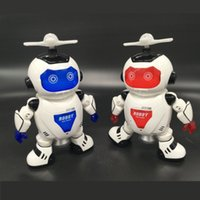Wholesale Musical Lights For Christmas - New Arrival LED Light 360 degree Rotating Robots Toys Glowing Musical Robot Doll for Christmas Gift