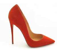 Wholesale sexy photo shoes for sale - Real photo Fashion Women Orange Suede Leather Footwear Women Pumps for Wedding Pointed Orange Sexy High Heels Shoes cm stilettos