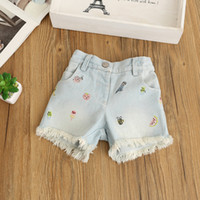 Wholesale Kids Blue Jean Shorts - Kids Girls Denim Tassel Short Pants Baby Girl Wash Blue Fashion Jean Pants Babies Summer Embroidered Floral Trouser 2017 childrens clothing