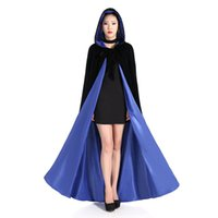 Capuche Noire Halloween Pas Cher-Cheap Price Unisex Halloween Cloak With Hood Costume Cosplay Medieval Wedding Cape Long Robe chaude Black S M L-XXXXXXL