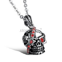Wholesale Crystal Skulls For Sale - Wholesale new fashion fine jewelry hot sale tide men titanium steel skull red zircon personality pendant necklace for man MGX930