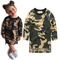 Wholesale Hot Hoody Wholesale - Girls asymmetry design camo Long hoody Kids chic camouflage pattern midi pullover for 1-3T ins hot children clothing