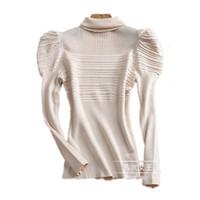 зимние свитера для свитера для женщин оптовых-Wholesale-New Fashion Warm Autumn Winter Pullover Sweaters Turtleneck Sweater Long Puff Sleeve Mujer Women Soild Black Sweaters NS18