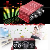 Wholesale Car Amplifier Wholesale - 5PCS Mini Hi-Fi Stereo Amplifier Booster Support DVD CD MP3 Input Car Motorcycle Home Amplifier CAU_103