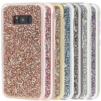 Wholesale Diamond Wallet Iphone Case - Premium bling 2 in 1 Luxury diamond rhinestone glitter back cover phone case For iphone 7 5 6 6s plus s8 s8plus case Package available