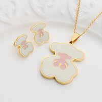 Wholesale Teddy Bear Jewelry Set - Teddy cute bear Necklace Earrings Set Jewelry