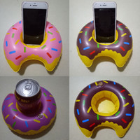 Wholesale Inflatable Sofa Kids - Inflatable Donut Water Float Phone Drink Holder PVC Summer Cartoon Swimming Toys for Adult Kids Outdoor Hot Sale