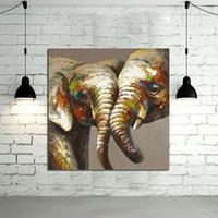abstrakte kunst malerei liebhaber großhandel-Gerahmte Liebhaber Elefant Bilder, reine handgemalte moderne Wand-Dekor-abstrakte Tierkunst-Ölgemälde-Qualitäts-Leinwand. Multi Größe verfügbar A068