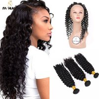 Wholesale Deep Wave Brazillian - Brazillian deep wave virgin hair pre plucked lace frontal with baby hair brazilian deep curly virgin hair 360 lace frontal with bundle curly
