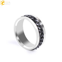 Wholesale Cheap Black Wedding Bands - CSJA Mens Black Chain Spinner Band Rings Punk Rock Style Fashion Finger Jewelry Polished Stainless Steel Rings Cheap Wholesale E675