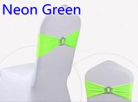 ingrosso cintura di stirata verde-Cinturino in lycra con fibbia Crown per sedie da sposa