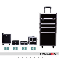 Wholesale Brand Trolley Case - Wholesale- Facebox Brand 4 in 1 Trolley Makeup Box Beauty Case with wheels professional makeup trolley makeup case New Universal Wheels