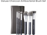 Wholesale Deluxe Makeup Brush Set - SEPHORACOLLECTION deluxe charcoal antibacterial brush set kit - 6-Pieces with Pouch - Beauty Makeup Brushes Blender