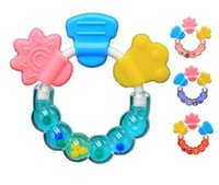 Wholesale Bit Flower - Wholesale-Appease Baby Bite Bite music Teether Ring Silicone Rubber Teeth TOP1959