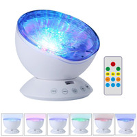 Wholesale Oceans Led - Amazing Romantic Remote Control Ocean Wave Projector 12 LED 7 Colors Night Light with Built-in Mini Music Player for Living Room and Bedroom