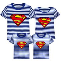 Wholesale Cotton Superhero T Shirts - Baby Kids Clothing Family Matching Outfits family set father son superhero shirts mother and daughter clothes superman white tee t-shirt