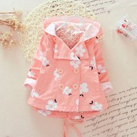 Wholesale baby girl korean clothing for sale - 2 Colors Girls Flower Tench coats Kids hooded Outwear Korean Coat Autumn long sleeve Tops Jackets baby clothes