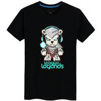 roupa da liga venda por atacado-Volibear T shirt Ice bear pessoas de manga curta League of Legends tees Lol jogo de roupas Homens de algodão Tshirt