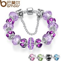 Wholesale Russia Silver - Pandora Style 5 Colors Silver Purple Crystal Bead Charm Bracelet with Safety Chain for Women Russia & Brazil Jewelry