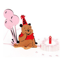 Wholesale 1Pcs Handmade d Birthday Card Creative d Pop Up Small Bear Greeting Cards Happy Birthday Wishes Cards Kids Baby Gift Post Card