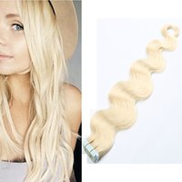 Wholesale Hot selling remy human hair extensions PU skin weft body wave tape in hair extensions multi color inch