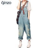 Wholesale Fashion Denim Overalls For Women - Wholesale- Women's casual loose denim overalls Lady's hole ripped baggy jeans Wide leg pants for woman