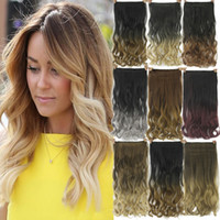 Wholesale Hair Extentions Clips - 24inches Black to Gray Curly Wavy Hair Extentions Clip in Hair Extension Curly Ombre Hair Piece Hairpiece