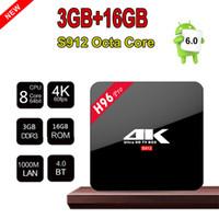 up tv box achat en gros de-H96 Pro Amlogic S912 OctaCore 64 bits Android7.1 TV Box 3G RAM 16G ROM Bluetooth Dual Band WIFI 3D / 4K 10pcs