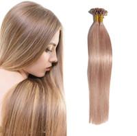 keratin yapıştırıcı ipuçları toptan satış-U / Tırnak Ucu Saç Uzantıları Ön Gümrük Keratin Tutkal Fusion Saç Uzantıları Hint Renkli İnsan Saç Parçaları 16