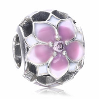 Wholesale Enamel Charms Round - 2017 New Arrive Authentic 925 Sterling Silver Flowers Bead Charm With Pink Enamel Fit Original Pandora Bracelet Diy Jewelry Making