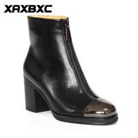 damen oxford fersen großhandel-A029 Retro Britischen Stil Leder Brogues Oxfords High Heel Kurze Stiefel Frauen Schuhe Schwarz Metall Zehe Handgemachte Beiläufige Dame Schuhe