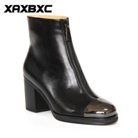 A029 Retro British Style Broches en cuir Oxfords High Heel Short Boot Femmes Chaussures Black Metal Toe Handmade Casual Lady Shoes