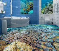 Wholesale Plastic Tile Floors - Custom any size Underwater World Fish Coral 3D Cubic Tile Flooring wallpaper for bathroom waterproof