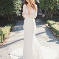 Wholesale Cheaper Lace Wedding Dresses - Sexy Deep V Neck Long Sleeves Applique Lace And Chiffon Wedding Dresses Court Train Robe de Mariage Bridal Party Gowns Cheaper