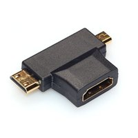 conectores hembra de metal macho al por mayor-100 Unids / lote 2016 Nuevo Hot 3 en 1 HDMI Hembra A Mini HDMI Macho + Micro HDMI Adaptador Macho Metal / Conector de Plástico Negro