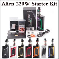 Wholesale E Cigarette Tops - Top quality SMOK Alien 220W Kit E Cigarette Advanced Vaper Starter Kit 220Watt TC E Cig Kit dual 18650 Battery In Stock