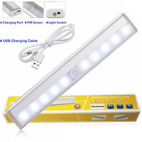Wholesale Rechargeable Led Light Strips - LED Cabinet Lights USB Lithium Battery Rechargeable Wireless Lamp Body Sensing Light Bar Magnetic Strip Wall Light