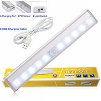 ışık algılama lambası toptan satış-LED Kabine Işıkları USB Lityum Pil Şarj Edilebilir Kablosuz Lamba Vücut Algılama Işık Çubuğu Manyetik Şerit Duvar Işık