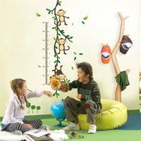 Wholesale Monkey Height Chart - pvc fashion Creative DIY wall sticker for child room Carved Removable Height stickers Forest monkey Decorating cute animal 2017 Wholesale