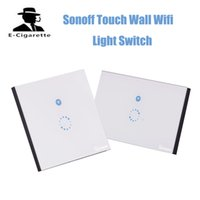 Wholesale Wireless Remote Control Wall - Authentic Sonoff Touch US EU Plug Wall Wifi Light Switch Glass Panel Touch LED Lights Switch for Smart Home Wireless Remote Switch Control