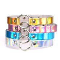Wholesale metal slave collars - Rainbow Laser PU Leather Necklace Metal Ring Choker Necklace Collars Sub Slave Necklace for Women Statement Jewelry Drop Shipping