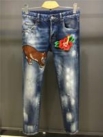 Wholesale Type Jeans Pant - SS17 NEW autumn Coolguy Pants type Skinny Button Fly Mens Jeans Micro-stretch Denim Desinger D1772-L002 Slim Fit Make Shabby holes top Men