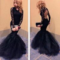 Wholesale Noir Dress - Graceful Evening Dress Long Sleeve O Neck Backless Mermaid Lace Long Black Evening Dress Robe Soiree Dentelle Noir