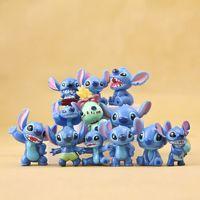 Wholesale Baby Lilo Stitch - Free Shipping 12pcs Lot Mini Anime Cartoon Lilo & Stitch Mini PVC Action Figure Toys Dolls Baby Toys Gifts