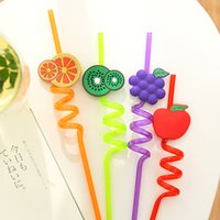 Wholesale Strip Party Straws - Wholesale-Colorful Plastic Strip Art Drinking Fruit Straw For Wedding Party Birthday Decoration Art straw-colored straws plastic straw