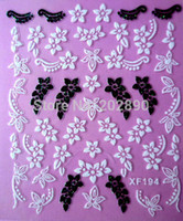 Wholesale Nail Sticker Black White - 1sheets 3D DIY Black and White flower Designs Decals Nail Art Stickers Wraps Decorations Manicure Tools for Polish XF194