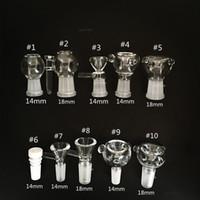 piezas de tubos al por mayor-Diapositivas de vidrio Cuenco Tazas Bongs Cuencos Funnel Rig Accesorios Clavo de cerámica 18 mm 14 mm Hombre Mujer Heady Fumar pipas de agua Perforadoras Bong Slide