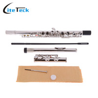 Wholesale C Gloves - Wholesale- Western Concert Flute Silver Plated 16 Holes C Key Cupronickel Woodwind Instrument with Cleaning Cloth Stick Gloves Screwdriver