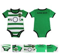 Wholesale Camisas Sport - baby onesie romper Sporting Lisbon Home Soccer baby cloth camisas de futebol 2016 Luis Figo Nani TEO Slimani William 0-12M Free shipment