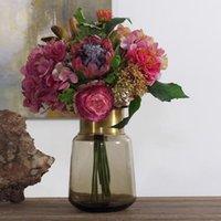 Wholesale Hydrangea Fabric Flowers - beautiful silk flower artificial fabric plastic 3 flower heads in 6 diameter for home wedding hydrangea